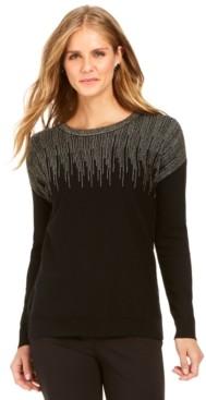 Alfani Metallic-Detail Vented-Hem Sweater, in Regular & Petite, Created for Macy's