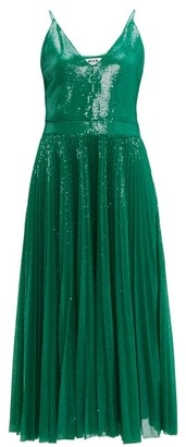 MSGM Pleated Sequinned Dress - Green