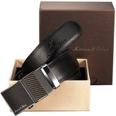 K&S KS Men's Modern Leather Belt Slide Automatic Lock Smooth Buckle + Gift Box KB016