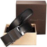 K&S KS Men's Modern Leather Belt Slide Automatic Lock Smooth Buckle + Gift Box KB016