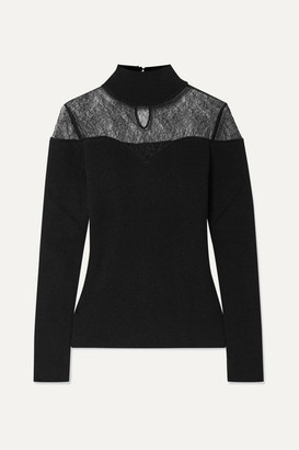 Fendi Lace-trimmed Ribbed Wool And Cashmere-blend Turtleneck Sweater - Black