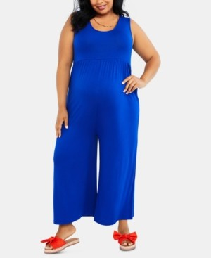 Motherhood Maternity Plus Size Cropped Wide-Leg Jumpsuit