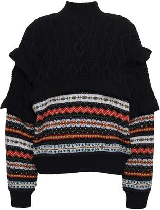 Philosophy di Lorenzo Serafini Fair Isle And Cable-knit Wool Turtleneck Sweater