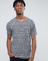 ONLY & SONS Crew Neck T-shirt with Raglan Sleeve and Mixed Yarn Stripe