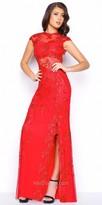 Mac Duggal Sequin Lace Applique Keyhole Prom Dress