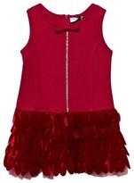 MonnaLisa Red Sleeveless Dress with Velvet and Tulle Petal Skirt