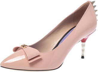 Gucci Pink Patent Leather Spiked Pumps Size 37.5