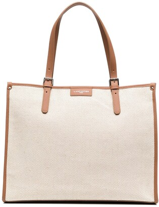 Lancaster Leather-Trim Tote Bag