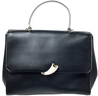 Roberto Cavalli Black Leather Flap Top Handle Bag