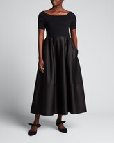 Thumbnail for your product : ADEAM Viola Mixed-Media Boat-Neck Dress