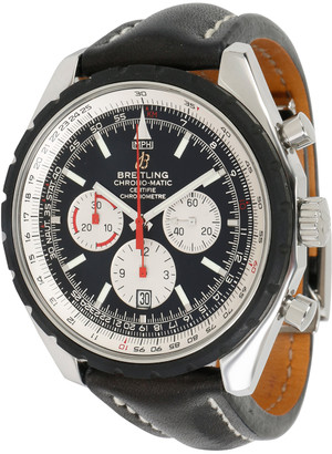 Breitling Black and Stainless Steel Leather Chrono-Matic A14360 Men's Wristwatch 49MM