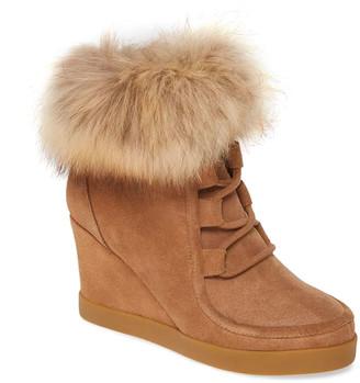 Cecelia New York Holly Fox Fur Wedge Booties