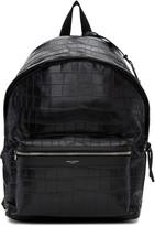 Saint Laurent Black Croc-embossed City Backpack