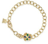 Temple St. Clair 18K Gold Turtle Oval Link Bracelet with Blue Sapphires, Emeralds and Diamonds