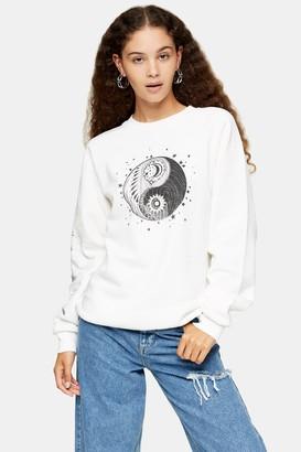 Topshop Womens Ecru Mystical Moon Sweatshirt - Ecru