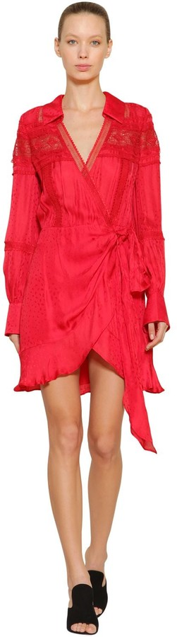 Self-Portrait Techno Wrap Dress W/ Lace