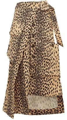 Jacquemus Thika Leopard-print Cotton Midi Skirt - Womens - Leopard