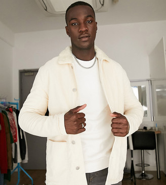 ASOS DESIGN Tall cord worker shacket with borg collar in stone