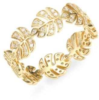 Sydney Evan 14K Yellow Gold & Diamond Monstera Leaf Eternity Band Ring