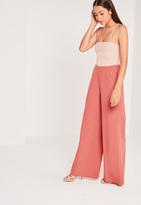 Missguided Circular Ring Zip Detail Wide Leg Pants Pink