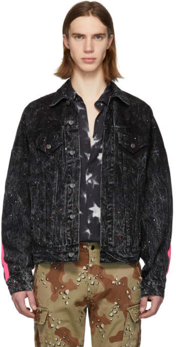 Amiri Black Neon Oversized Trucker Jacket