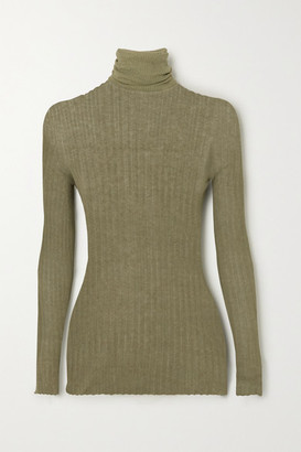 PARIS GEORGIA Ribbed Cotton Turtleneck Sweater - Army green
