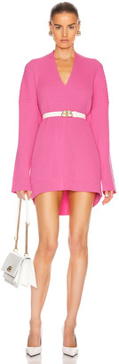 Balenciaga Long Sleeve Slit Sweater in Ultra Pink | FWRD