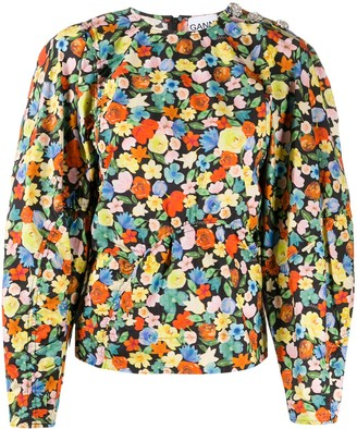 Ganni Floral Print Puff-Sleeves Blouse