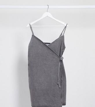 Asos Tall ASOS DESIGN Tall denim wrap cami dress in washed grey
