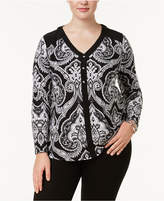 INC International Concepts Plus Size Printed Jewel-Button Top, Created for Macy's