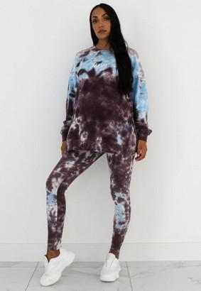 Missguided Blue Tie Dye Maternity Leggings