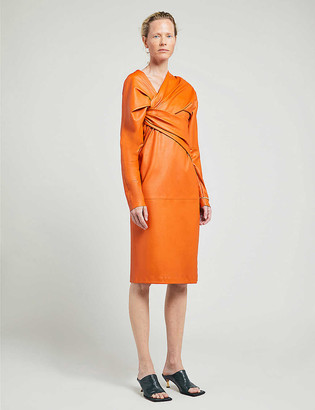 Bottega Veneta Puffed-sleeve ruched-twist leather midi dress