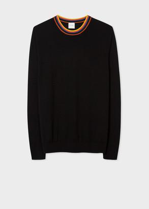 Paul Smith Men's Black Merino Wool Sweater With 'Artist Stripe' Collar