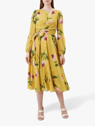 Hobbs Sadie Silk Dress, Yellow
