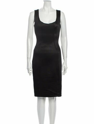 Versace Scoop Neck Knee-Length Dress Black