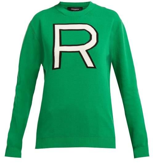 Logo Intarsia Cotton Sweater - Womens - Green