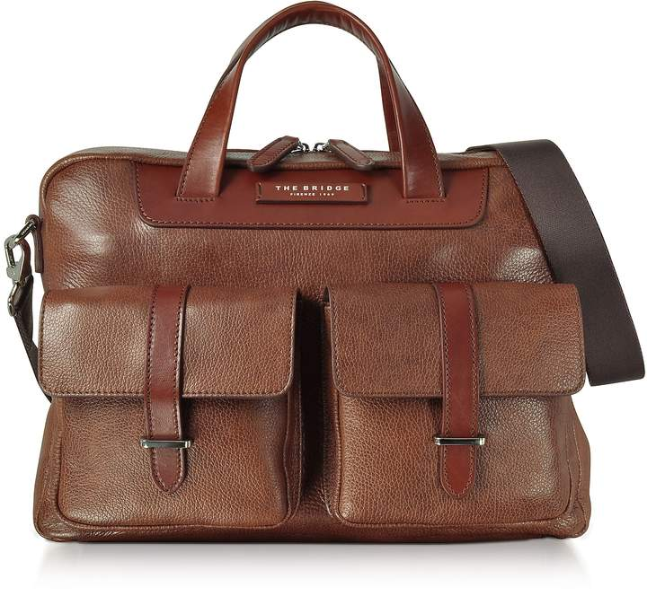 The Bridge Brown Leather Double Handle Briefcase w/Two Front Pockets