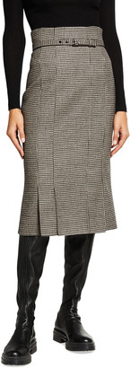 Akris Houndstooth Belted Wool Pencil Skirt