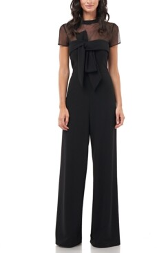 JS Collections Illusion-Yoke Twist-Front Jumpsuit