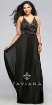 Faviana Mesh Beaded Plus Size Prom Dress