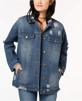 Say What Juniors' Cotton Denim Ripped Trucker Jacket