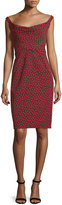 Zac Posen Fitted Floral-Print Cocktail Dress, Red/Multi