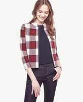 Ann Taylor Plaid Open Sweater Jacket