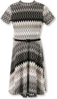 Speechless Short-Sleeve Chevron Lace Belted Dress - Girls 7-16