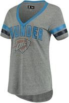 G Iii Women's G-III 4Her by Carl Banks Gray/Blue Oklahoma City Thunder Walk Off Crystal Applique Logo V-Neck Tri-Blend T-Shirt