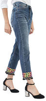 Topshop MOTO Pom Pom Hem Straight Leg Jeans 30-Inch Leg