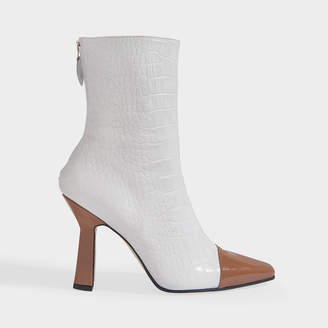 Paris Texas Two Tone Ankle Boots In White And Camel Patent And Croc Embossed Leather