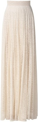 Akris Millefleur Lace Pleated Maxi Skirt