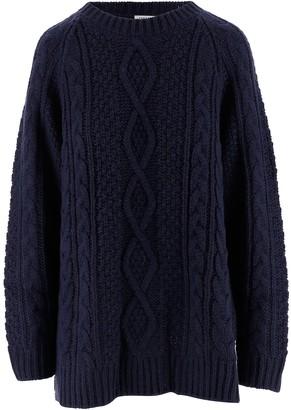P.A.R.O.S.H. Blue Alpaca and Wool Blend Women's Long Sweater