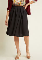 ModCloth Breathtaking Tiger Lilies Midi Skirt in Black in S